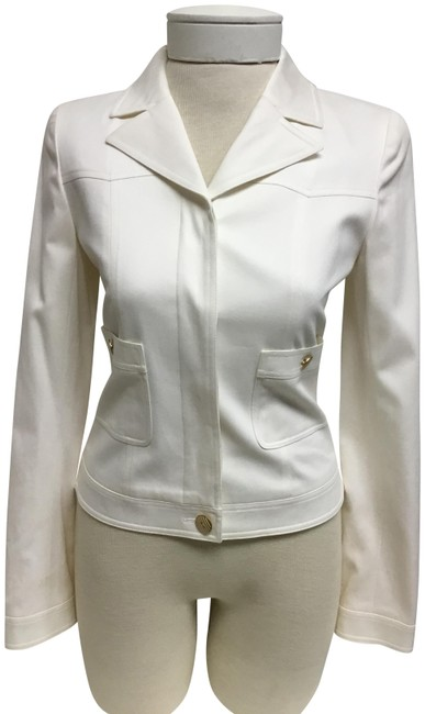 Item - White Denim Style with Hidden Button Jacket Size 4 (S)