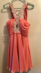 JJ's House Coral Sheer and Satin Or Special Occassion Sexy Bridesmaid/Mob Dress Size 4 (S)