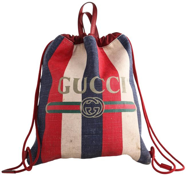 Item - Drawstring Stripped Red/White/Blue Canvas Backpack