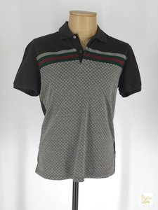 Gucci Brown XL Mens Diamonte Print Polo Slim #25519 Shirt