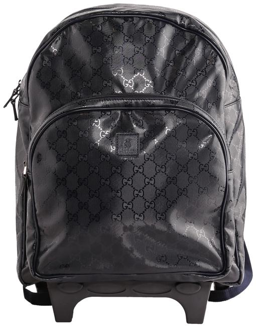Item - Children's Gg Imprime Rolling Navy Blue Patent Leather Backpack