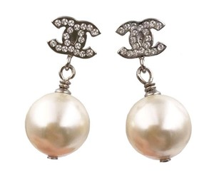 Chanel Chanel Classic Silver Crystal CC Faux Pearl Dangle Piercing Earrings