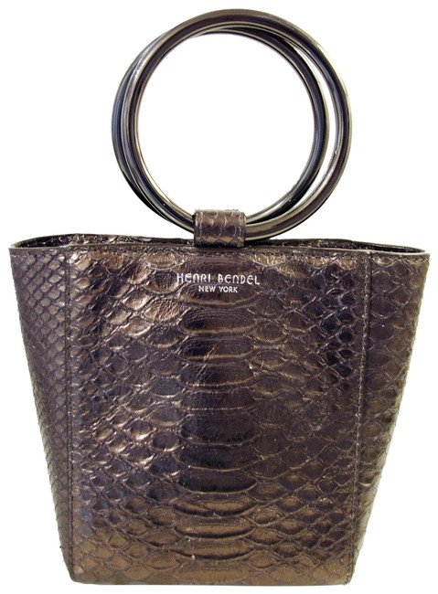 Item - Marquis Micro Tote Chocolate Snake Embossed Leather Shoulder Bag