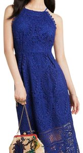 Anthropologie Polyester Cotton Lining Scalloped Halter Dress