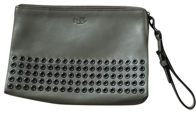 Item - Olive Gray Leather Clutch
