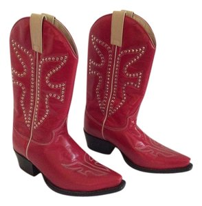 Frye Studded Red Boots