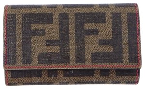Fendi Zucca Monogram Canvas Leather 6x Key Case Wallet