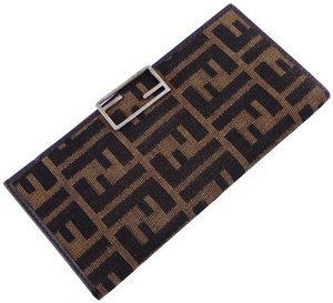 Fendi Zucca Canvas Leather Checkbook Cover Long Clutch Wallet