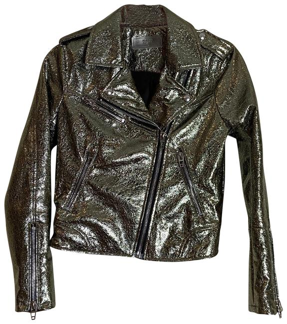 Item - Gold Metallic Moto Jacket Size 2 (XS)