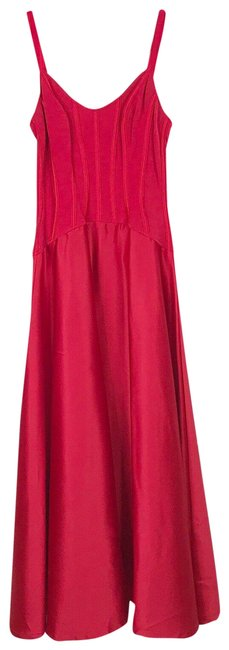 Item - Red Vintage Corset Top Satin Gown Long Formal Dress Size 4 (S)