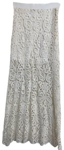 Miguelina Crochet Beach Summer Sheer Maxi Skirt White