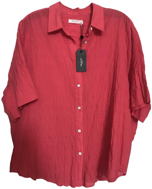 Item - Red L Button-front Short-sleeve Tie Shirt Watermelonred Blouse Size 12 (L)