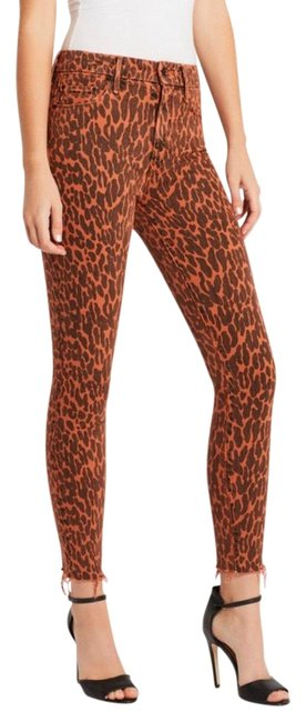 Item - Orange Black High Waisted Looker Ankle Fray Animal Attraction Skinny Jeans Size 00 (XXS, 24)