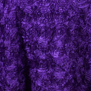 Purple 132 Inch Round Rosette Satin Tablecloth