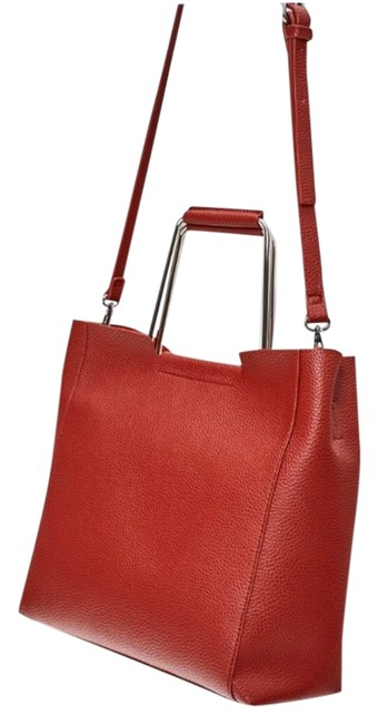 Item - Tote Soft with Metallic Handle Red Outer Shell Metal Main Material Polyurethane Cross Body Bag