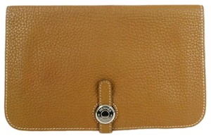 Hermes Dogon GM Brown Dogone Clemence Leather Wallet 872581