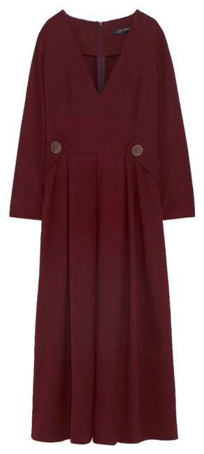 Item - Burgundy Flowing Button-up Mid-length Casual Maxi Dress Size 0 (XS)