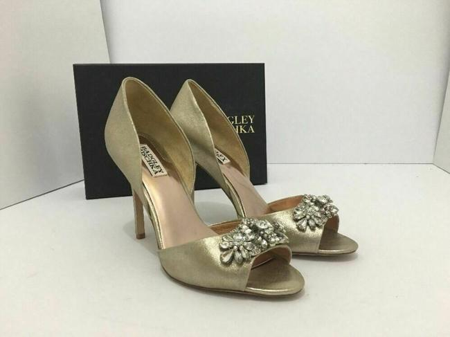 Item - Gold Peep Toe Embellished Heel Metallic Suede Pumps Size US 8.5 Regular (M, B)