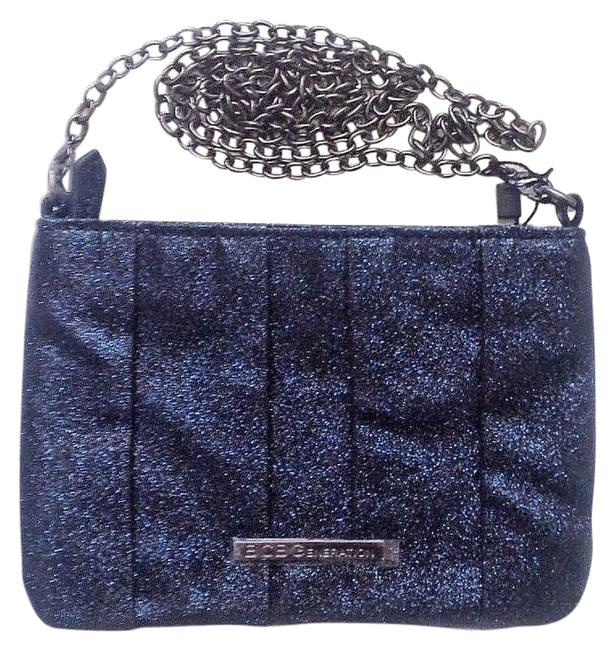 Item - Handbag Purse Chain Strap Blue Glitter Clutch