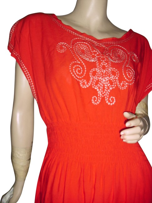 Item - Orange White Embroidery Split Sleeves Cruise Resort Wea Short Casual Dress Size 6 (S)