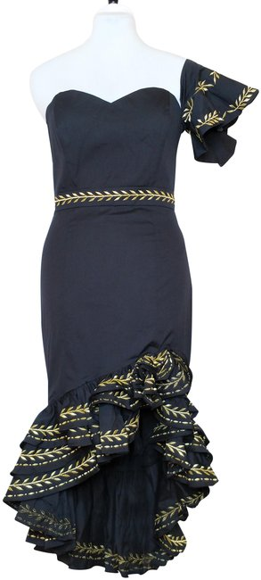 Item - Black Cam Asymmetrical Embroidered Tiered Ruffle Hi-low Midi Mid-length Night Out Dress Size 8 (M)