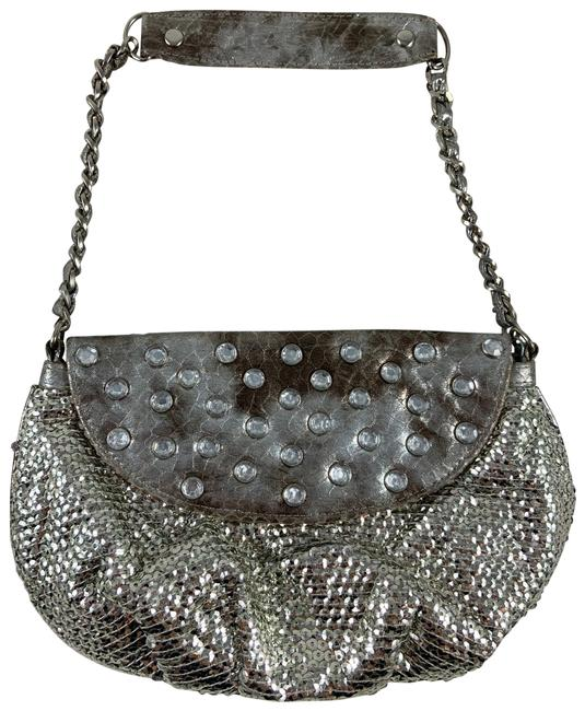 Item - Clutch Vintage Bejeweled Glit Chain Purse Silver Sequin Hobo Bag