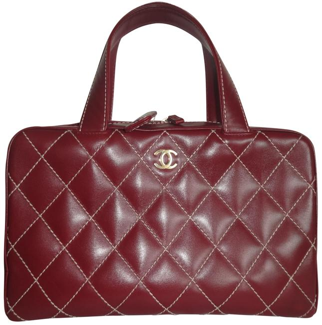Item - Surpique Quilted Handle Bowler Vintage Red Leather Tote