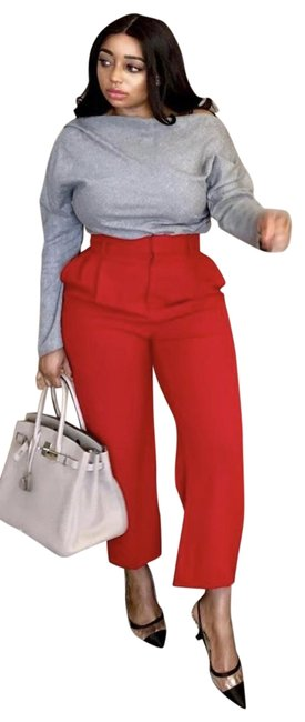 Item - Red High Waisted Pleated Pants Size 2 (XS, 26)
