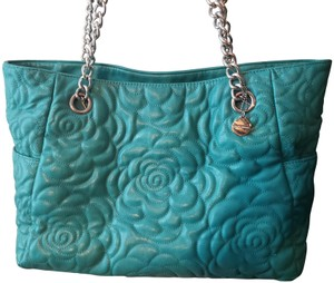 Big Buddha Quilted Silver Hardware Faux Leather Vegan Friendly Tote in Turquoise