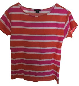 J.Crew 100% Silk Pink Orange Top Pink, Orange, White