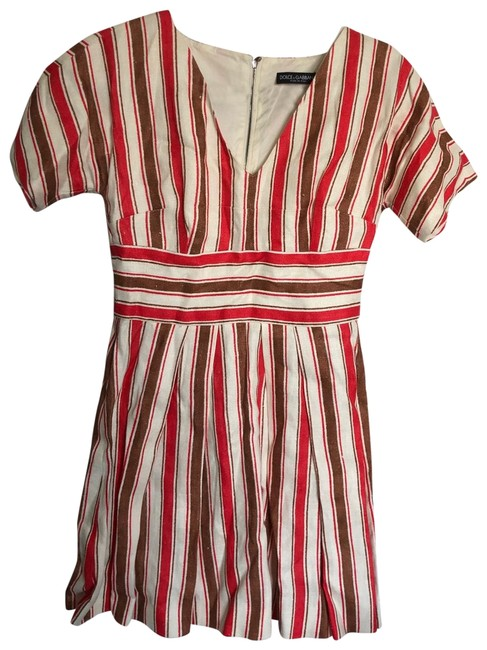 Item - Red | Brown | Cream Stripes Dolce and Gabanna Linen Short Casual Dress Size 4 (S)