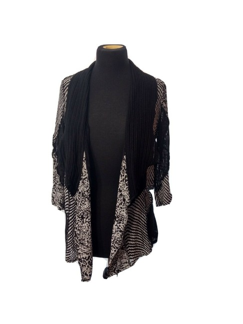 Item - Black White Travelers Collections Lightweight Semi Sheer Open Knit Sweater Comfort Cardigan Size 4 (S)