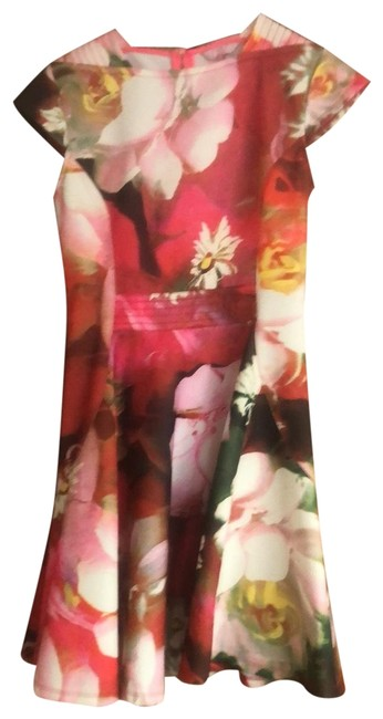 Item - Floral Multi Pink Red Skater Short Night Out Dress Size 6 (S)