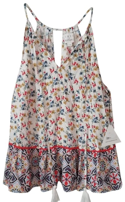 Item - White Multi Color Floral's Print Prairie Tank Top/Cami Size 6 (S)