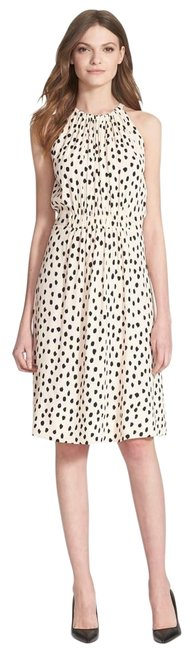 Item - Off White/Black Leopard Dot Mid-length Short Casual Dress Size 12 (L)