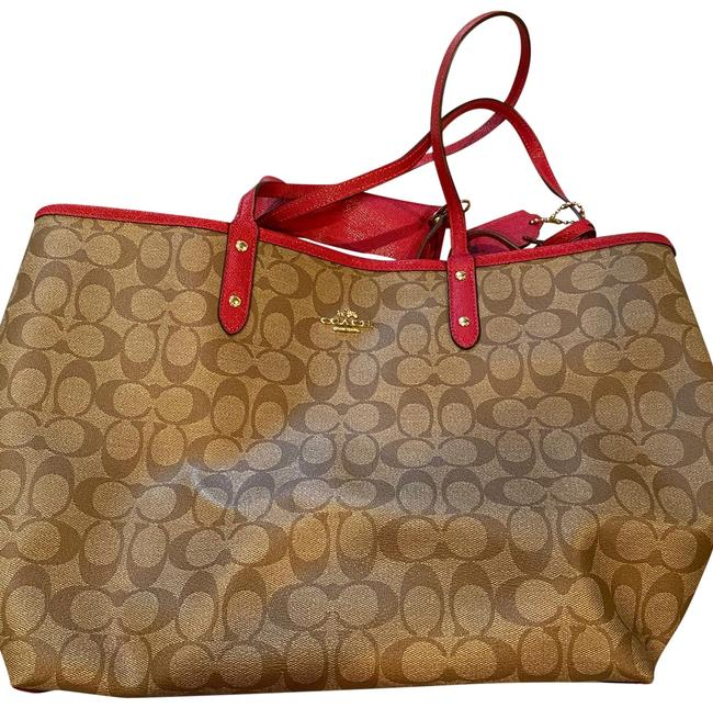 Item - Reversible Neverfill Tote Brown and Red Leather Weekend/Travel Bag