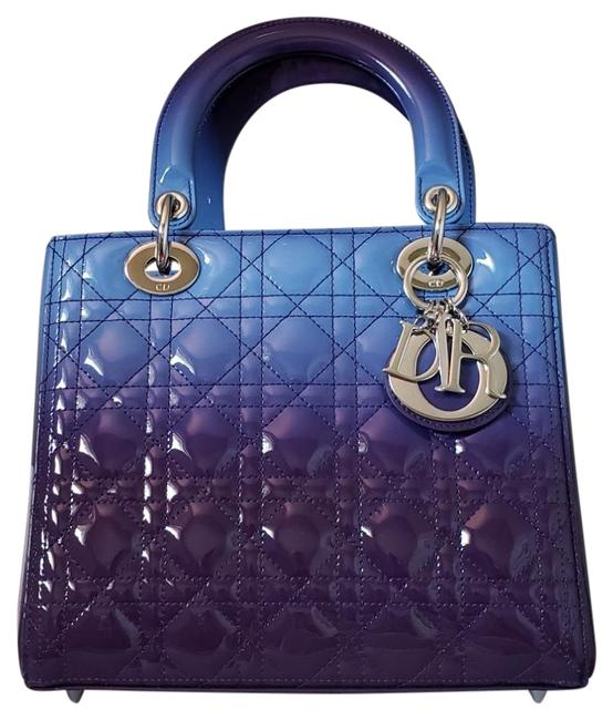Item - Lady Ombre New Silver Hardware Blue Purple Patent Leather Tote