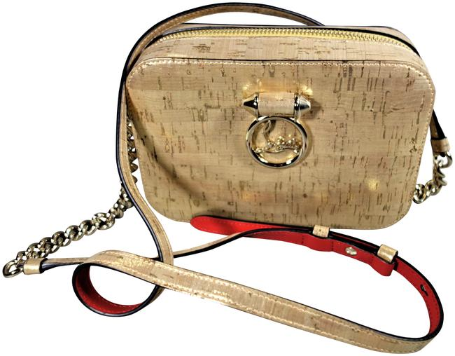 Item - Shoulder Box Rubylou Mini New Accents Red Sole Gold Metallic Cork Cross Body Bag