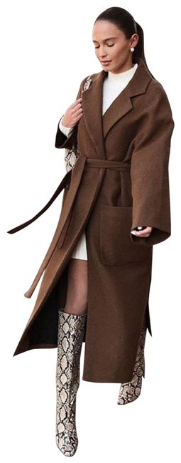 Item - Taupe Brown Wool Patch Pocket Wrap Coat Size 4 (S)
