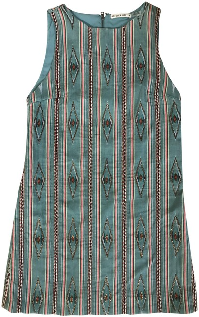 Item - Green Multi Embroidered Folk Short Casual Dress Size 10 (M)