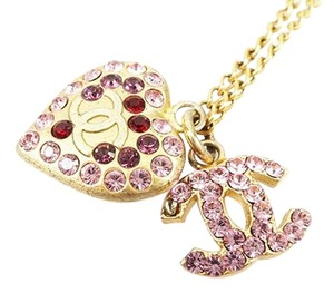 Chanel Auth Chanel Necklace Cocomark Heart Motif GP Plating Rhinestone Gold Color 02P