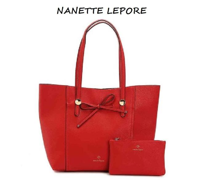 Item - Nwot Vegan and Zip Pouch Set Bright Red/Gold Velour Tote