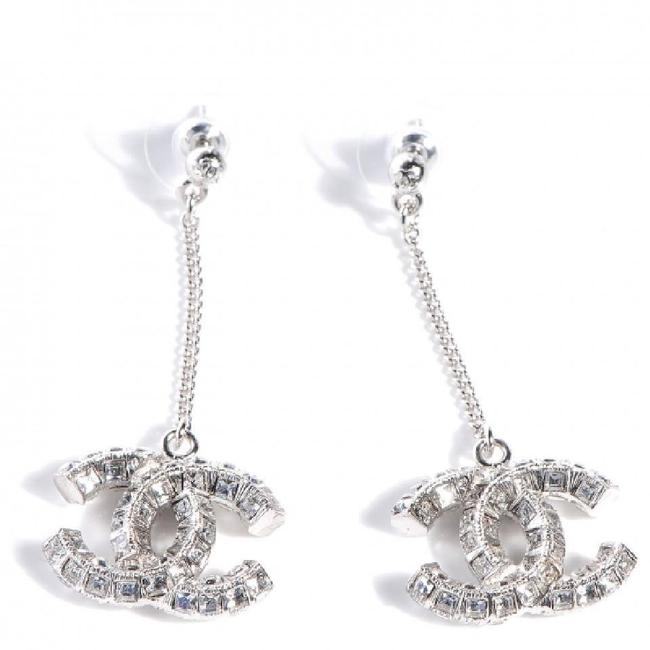 Item - Silver Tone Crystal Cc Logo Dangle Classic Earrings