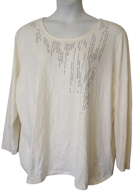 Item - White Metal Embellishments Long Sleeve Knit 3x Tee Shirt Size 28 (Plus 3x)