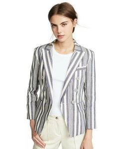 SALE Veronica Beard HOSSANA DICKEY JACKET  BLAZER HORIZONTAL STRIPED BLACK WHITE