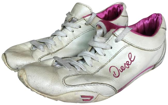 Diesel White/Pink Leather Sneakers Size
