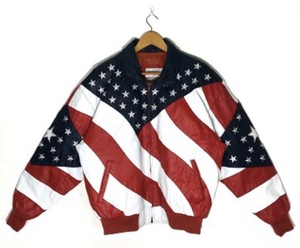 Michael Hoban red white and blue Leather Jacket