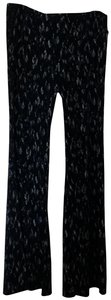 Veronica M Stretchy Boho Flare Pants Navy with white print