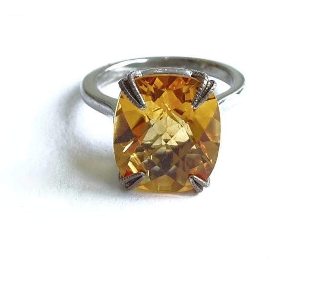 Item - Yellow Silver Citrine Stackable Cocktail Ring