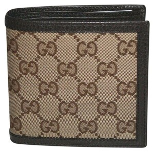 Gucci GUCCI MEN'S GG SUPREME CANVAS LEATHER BIFOLD WALLET IN BROWN 150413